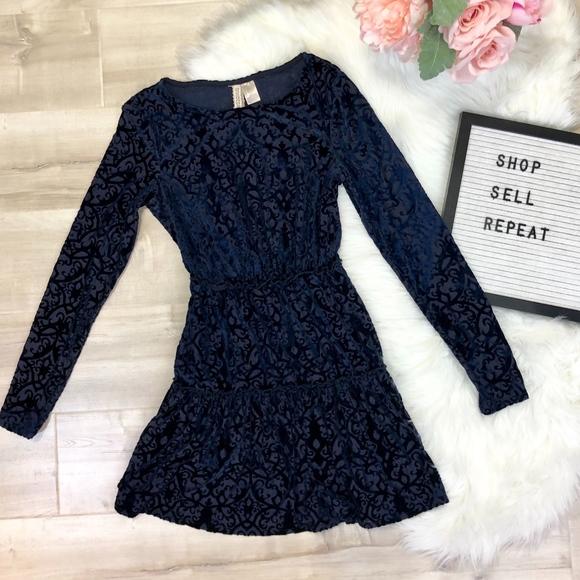307f80b844f2 H&M Dresses | Hm Divided Navy Blue Velvet Designed Ruffle Dress ...